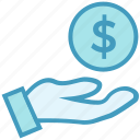 cash, coin, coin on hand, dollar, hand with dollar, money icon