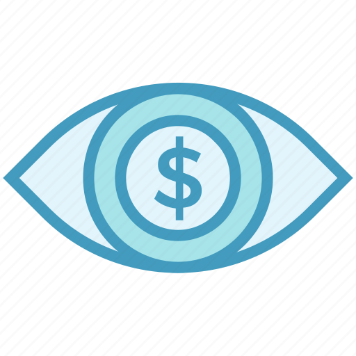 coin, currency, dollar, eye, finance, view icon