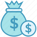 bank, currency, dollar bag, finance, loan, money bag, savings