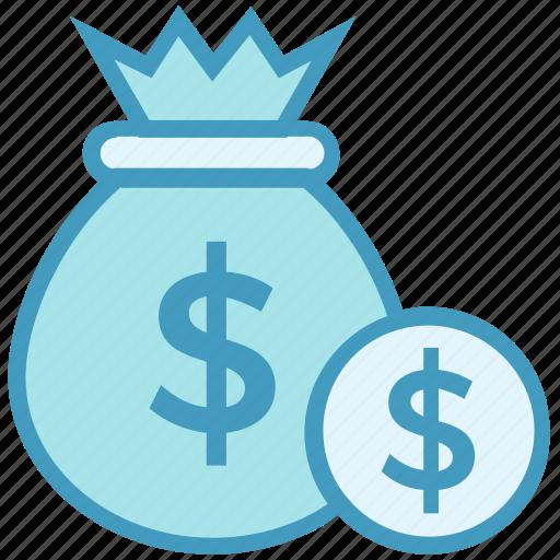 bank, currency, dollar bag, finance, loan, money bag, savings icon