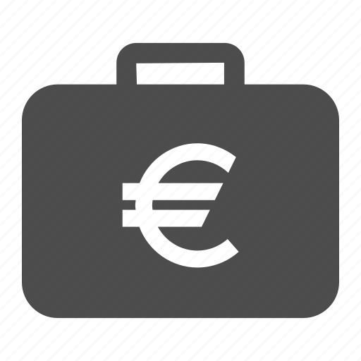 business, case, currency, euro, finance, money, suitcase icon