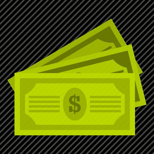 banking, bills, cash, currency, dollar, finance, three icon