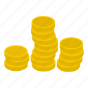 coins, currency, finance, gold, metal, money, wealth icon