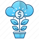 growth, investments, money, plant icon
