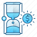 hourglass, management, money, time icon