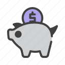 banking, business, currency, finance, money, piggy icon