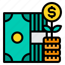 cash, money, growth, stack, coins