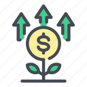 coin, dollar, finance, growth, money, plant, up icon