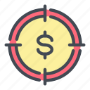aim, coin, dollar, goal, hit, money, target icon