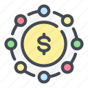 cash, coin, dollar, finance, link, money, share icon