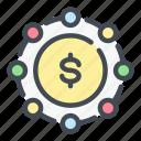 cash, coin, dollar, finance, link, money, share