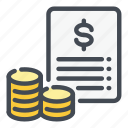 coin, dollar, file, finance, invoice, money, payment icon