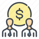 coin, dollar, finance, group, money, person, team icon