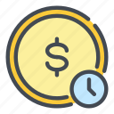 clock, coin, dollar, exchange, money, time, watch icon