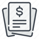 bill, doc, document, dollar, file, invoice, money icon
