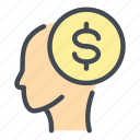 coin, dollar, finance, head, mind, money, payment icon
