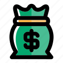 bag, bank, banking, currency, dollar, money, money bag icon