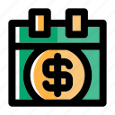 bank, banking, calendar, credit, debt, money, payday icon