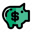 bank, banking, pig, piggy, piggy bank, savings icon
