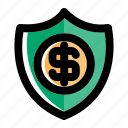 bank, banking, money, protection, secure, security, shield icon