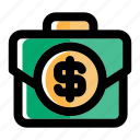 bag, baggage, bank, banking, luggage, money, suitcase icon