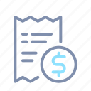 banking, finance, money, payment, receipt icon
