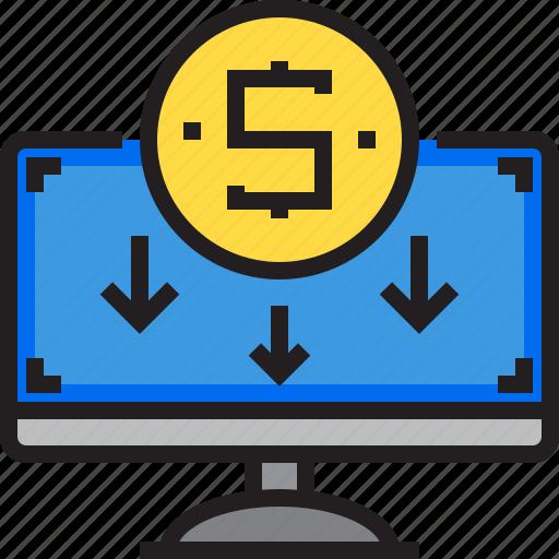 Money, computer, cash, business, finance icon