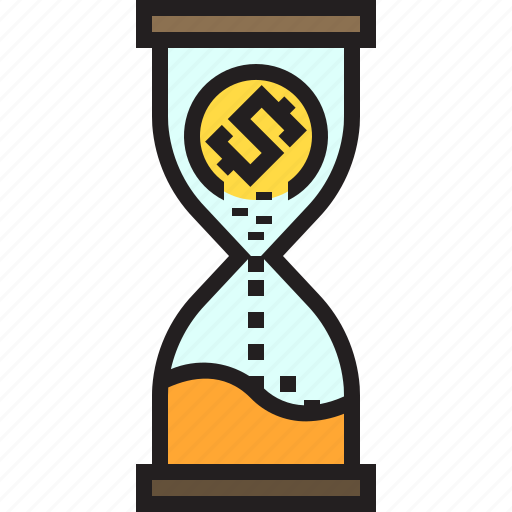 business, cash, finance, hourglass, money icon