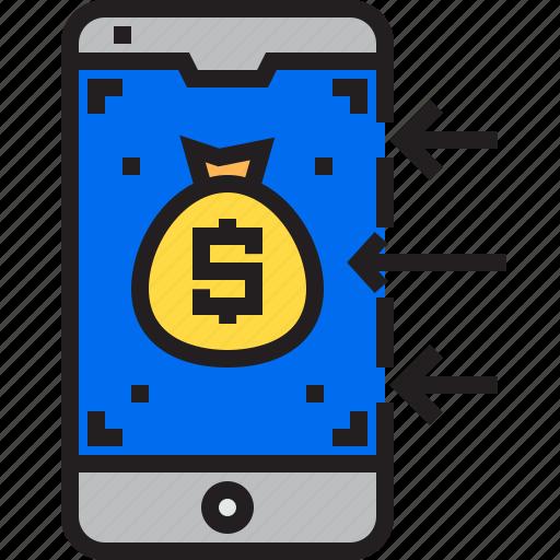 Bag, marketing, finance, business, money icon