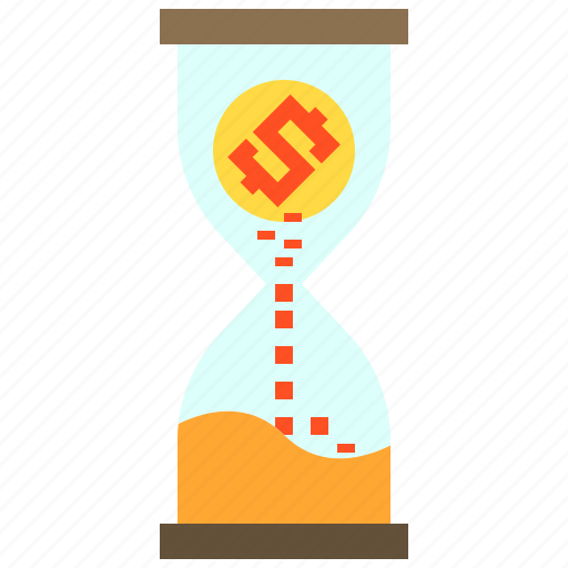 business, finance, hourglass, money icon