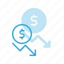 coins, currency, decrease, dollar, finance, money, stock icon