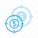 finance, money, plan, strategy, target icon