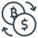 bitcoin, currency, dollar, exchange, finance icon
