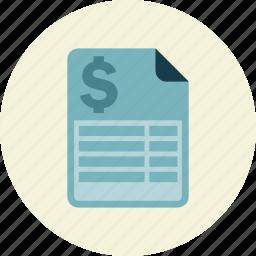 bill, expense, income, receipt icon