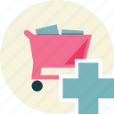 add, shopping, trolley icon