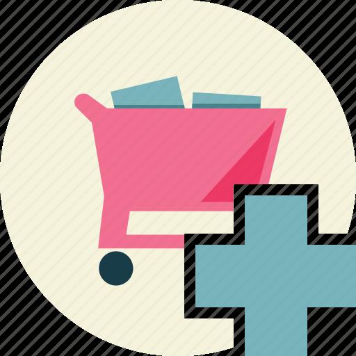 add, shopping, trolley icon