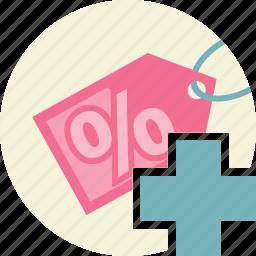 add, discount, price, tag icon