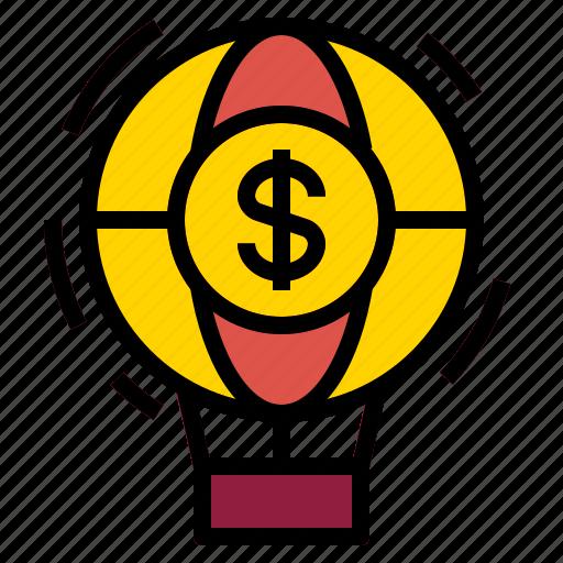 air, balloon, money icon
