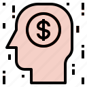 brain, coin, head icon