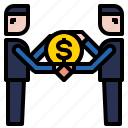 businessman, coin, dollar, loan icon