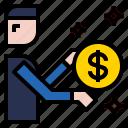 businessman, coin icon