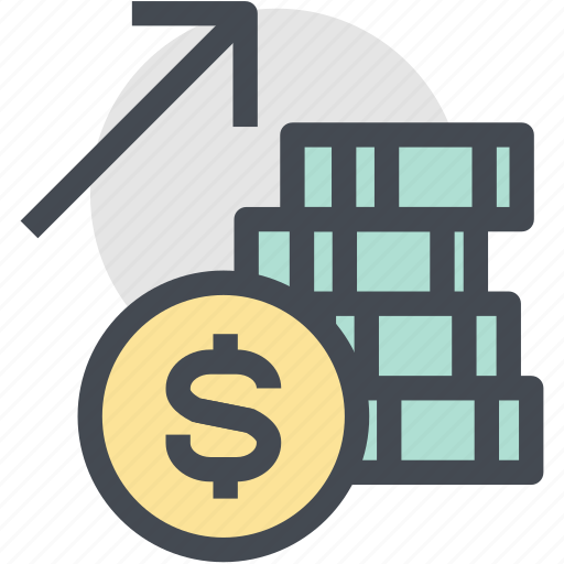 business, coins, currency, finance, money, money up, profit icon