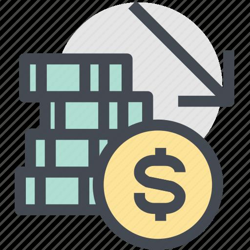 coins, decrease, finance, indicators, money, money down, money loss icon