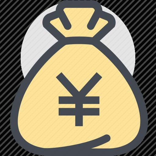 bag, business, currency, dollar bag, finance, money, yen icon