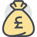 bag, business, currency, dollar bag, finance, money, pound icon