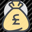 bag, business, currency, dollar bag, finance, money, pound