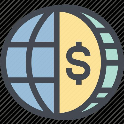 business, coin, dollar, finance, globe money, money, world icon