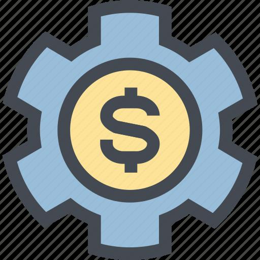 business, coin, finance, gear, mechanism, money, money settings icon