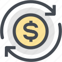 circulation, coin, currency, cycle, dollar, finance, money icon