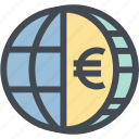 business, coin, euro, finance, globe money, money, world icon